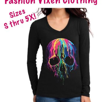 Colorful Dripping Melting Color Sugar Skull Long Sleeve V-Neck Shirt S M L XL Plus Size 1x 2x 3x 4x 5x