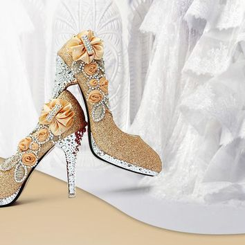 High Heels 10CM Wedding Bridal Evening Party Cinderella Shoes Women'S Pumps Fake Crystal Rose Flower