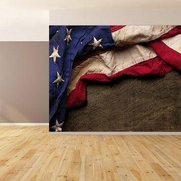 Aged American Flag Vintage Brown Wood Siding Wallpaper Peel and Stick