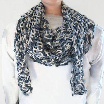 EcoFriendly Lacy Wrap/Shawl Crocheted in Blue & White Bamboo. Accessories, Mothers Day Gift, Spring, Summer, Wedding, Holiday,