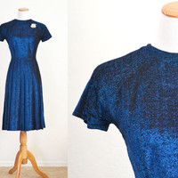1960s Party Dress Royal Blue Metallic Knit Vickie Vaughn