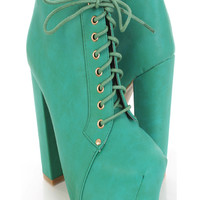 Green Faux Leather Lace Up Tie Chunky Heel Booties