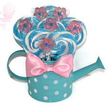 Pink and Blue Watering Can Lollipop Arrangement, Candy Arrangement, Centerpiece, Candy Buffet, Lollipop, Lollipop Centerpiece, Pink