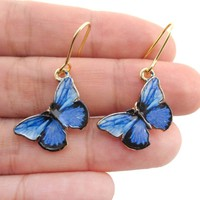 Beautiful Blue Morpho Butterfly Shaped Dangle Earrings | DOTOLY