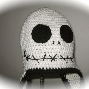 Jack Skellington Hat, Jack the Pumpkin King Hat, Nightmare Before Christmas Hat With Ear Flaps and Braided Tassels