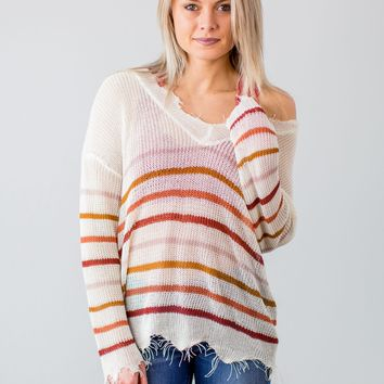 Frayed Striped Sweater- Multi