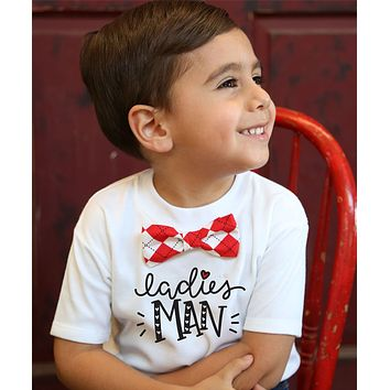 Valentines Day Outfit Toddler Boy Ladies Man with Argyle or Heart Bow Tie