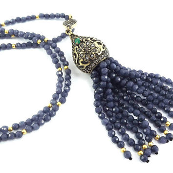 Ethnic Turkish Tassel Necklace Smoky Denim Blue Facet Jade Gemstone Statement Gypsy Hippie Bohemian Artisan - One Of A Kind