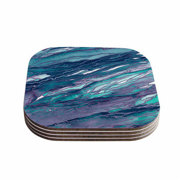 "Ebi Emporium ""Agate Magic - Lilac Teal"" Blue Lavender Coasters (Set of 4)"