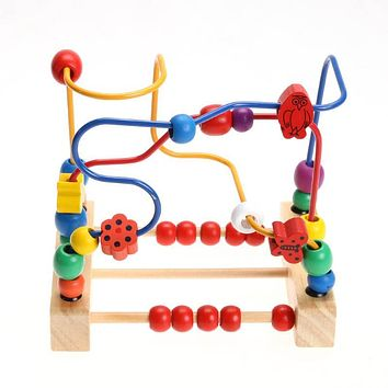 Wooden Bead Maze Math Toy Kids Early Educational Montessori Toy Baby Children Bead Roller coaster Round Wire Maze Puzzle Toy Gift