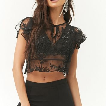 Sheer Embroidered Lace Crop Top