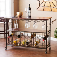 Contemporary Kitchen Cart With Wine Storage Rack Stylish Dining Room Furniture