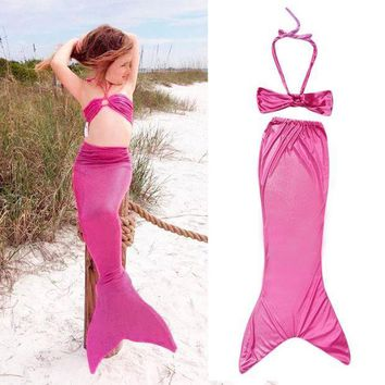 MDIG57D Breathable Princess Ariel Little Mermaid Tail Dress Children Kids Girls Kid Mermaid Tails Costume Bikini Swimsuit Set Well Sell