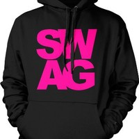 SWAG Mens Sweatshirt, Sexy Bold Neon Swagger Pullover Hoodie, Medium, Black