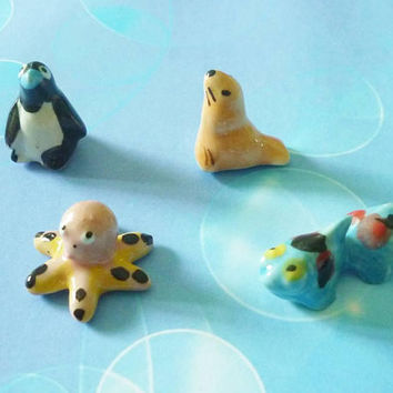 Miniature penguin fish octopus seal set 4 pcs. Tiny ceramic sea animal figurines decor -miniature animal figure -1 12 scale