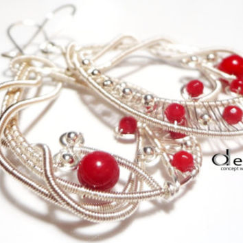Gorgeous Wire Wrap Lace Earrings Wire Wrap Coral Earrings Wire Earrings with Coral Gemstone Gemstone Earrings Gemstone Jewelry Stone Earring