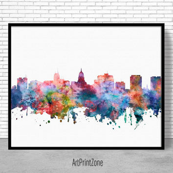 Madison Skyline, Madison Print, Madison Wisconsin, Office Decor, Office Art, City Skyline Prints, Skyline Art, Cityscape Art, ArtPrintZone