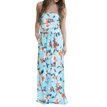 Womens Long Dress Off Shoulder Holiday Ladies Floral Printed Elegant Party Dresses 2017 Bohemian Summer Maxi Dress Female A