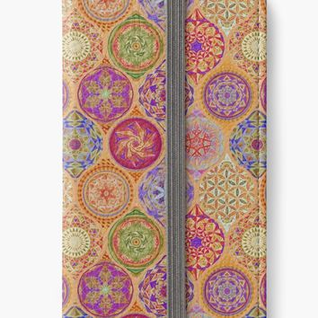 'Yoga Pattern 12 Mandalas Drawing Orange' iPhone Wallet by Cveta