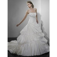 Ball gown strapless chapel train  glamorous taffeta with ruffle wedding dress