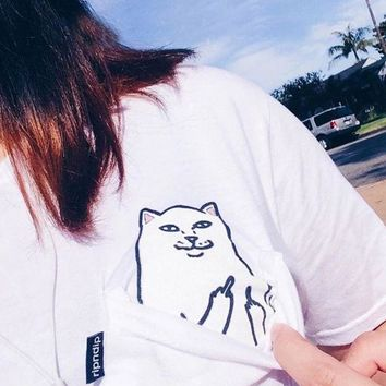 DCCK7XP Women T Shirt 2017 Summer Style Cat Pocket T-shirt White Punk Harajuku O-neck Short Sleeve Cotton Couple Crop Top Tee Plus Size