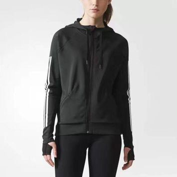 DCCKNQ2 Adidas Women Fashion Hooded Sport Cardigan Jacket Coat Sweatshirt1