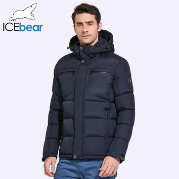ICEbear Mens Winter Jackets Chest Exquisite Pocket Simple Hem Practical Waterproof Zipper High Quality Parka 17MD940D