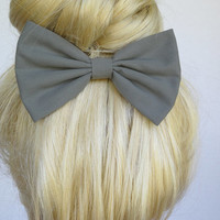 Grey hair bow grey hair clip gray bow gray hair bow gray hair clip grey bow winter bows fall hair bow fabric bow big bow large bow teens