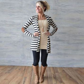 Women's Casual Stripe Elbow Patch Open Front Cardigan Long Sleeve Sweater