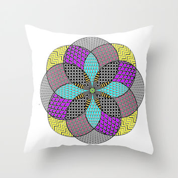 colorful zentangle Throw Pillow by Haroulita