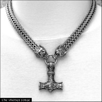 Big Bold Double Wide Viking Braid Wolf Head Chain With Large Reversible Mjolnir Thor's Hammer