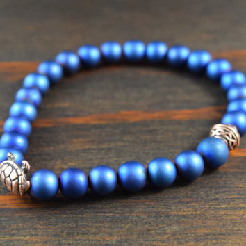 Blue Hematite Bracelet. Celtic Knot Bracelet. Turtle Bracelet. Men's Beaded Yoga Bracelet. Men's Fashion Bracelet. Lotus and Lava Bracelet.