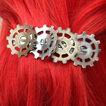 Steampunk Hair Clip, Steampunk Bent Gear Hair Clip, Industrial Gear Hair Clip, Steampunk Accessories, Steampunk Bridesmades Hair Accessory