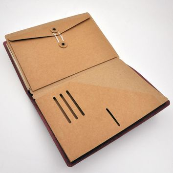 Traveler's Notebook Diary Accessory Kraft Paper Organizer Holder for Tickets Cards Passport