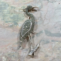 Vintage Judith Jack Brooch Crane Pin Bird Wetlands Marshes Bird Lover Gift Sterling Silver Sparkling Marcasites Large Brooch Nice Detail