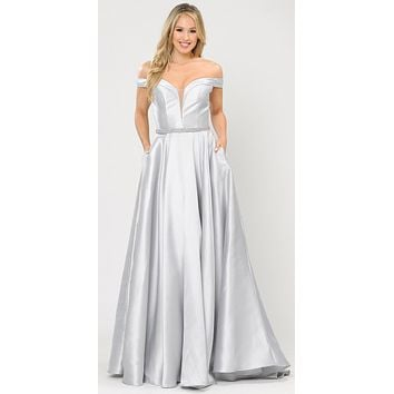 Silky Satin Off-Shoulder Long Prom Dress Silver with Pockets