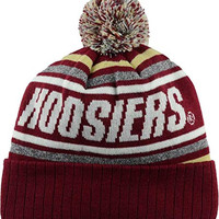 Indiana Hoosiers NCAA Stryker Pom Knit Beanie Cap Hat (One Size, Crimson Red)