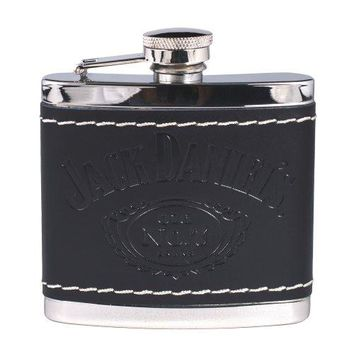 Jack Daniels Black Leather Wrapped Stainless Steel Flask