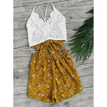 Lace Panel Criss Cross Bow Tie Back Cami Top With Florals Shorts MULTI