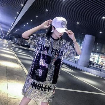 Dangal Fashion T shirt with Sequins Hip Hop Bling T-shirt Woman Summer T-shirt Women Street T Shirt For Stage Dance Club Party