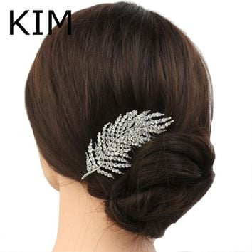 New feather Shape Austria Crystal Wedding Handmade Shiny Bridal Hair Combs Jewelry vintage hair accessories