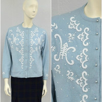 Vintage 50s Light Blue Beaded Cardigan Sweater, Baby Blue Rockabilly Pinup Cardigan, Cropped Cardigan Size L