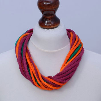 Multistrand fiber necklace in cherry, orange and green - twisted, multi strand, felted wool necklace - twist felt rope [N116]