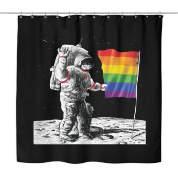 LGBT Gay Pride Shower Curtain - Rainbow Flag on the Moon