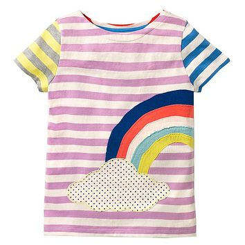 Girls Summer Tops Baby Clothes Kids Tee Shirt Infant Fill Striped Girls T-shirts Children Clothing Princess Costume