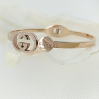 GUCCI Fashion Women Men Delicate Hollow GG Letter Stainless Steel Couple Bracelet Jewelry I12463-1
