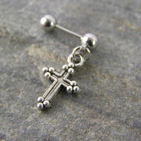 """Little Silver Cross 16g 1/4"""" 6mm Cartilage Dangle Earring Tragus Helix Stud Barbell Bar Body Piercing Mens Gothic Old World Style"""