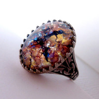 Gold Maroon Glass Slipper Opal Ring by FashionCrashJewelry on Etsy