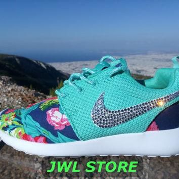 wmns custom nike roshe run shoes with fabric floral aqua green color sneakers blinged