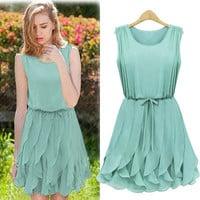 New Hot Summer Women Mint Green Chiffon Pleated Dress